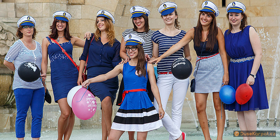 Szczecin - girls dressed as sailors, reminiscent of the local Naval Academy