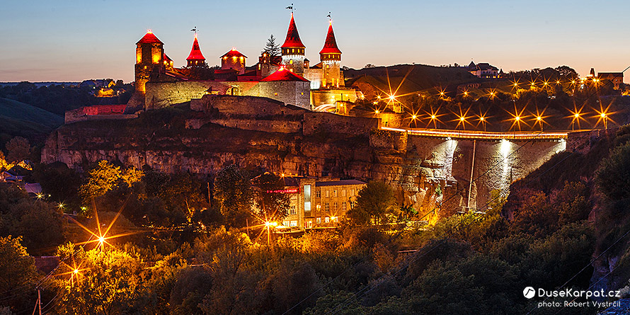 Castle in Kamianets-Podilskyi at night